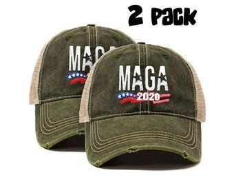dcd01a1301a21 MAGA Star  2 Pack  Make America Great Again Baseball Trucker Hat (Unisex)