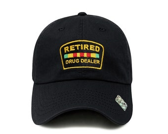 2c6f1a4588c0e Retired Drug Dealer Hat Dad Hat Cotton Baseball Cap Polo Style Low Profile  5 Colors