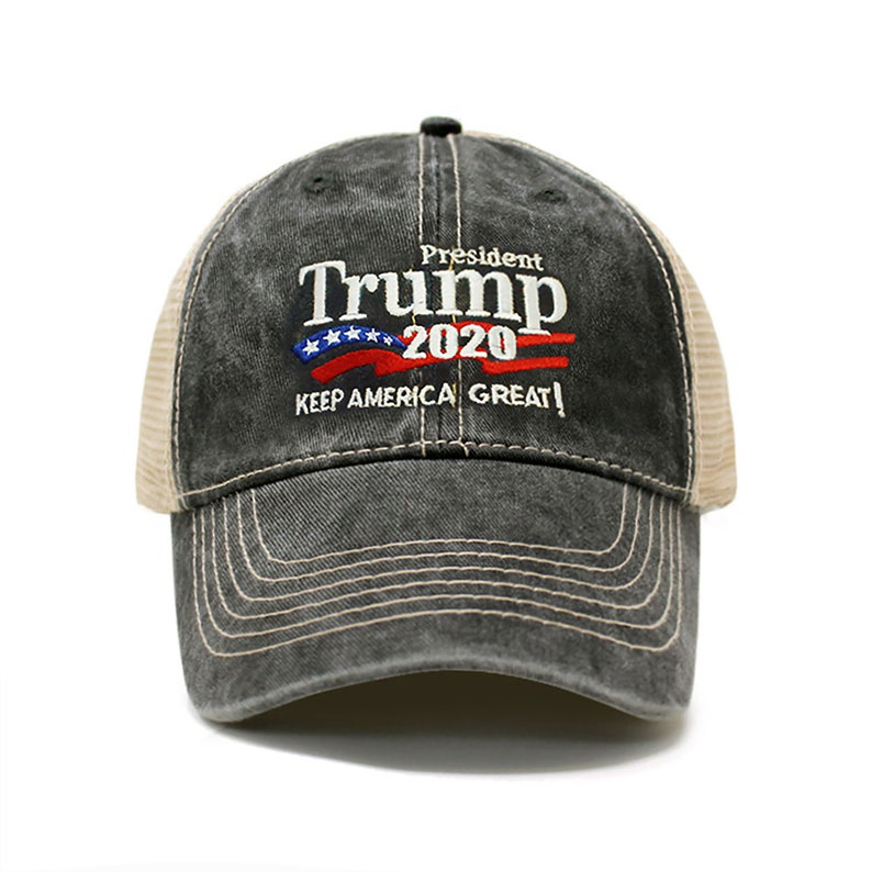 Trump 2020 Keep America Great Campaign Embroidered Hat Trucker Charcoal