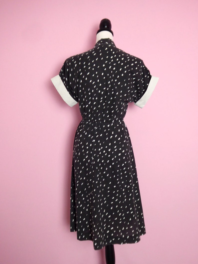 vintage dress in washed black with white brushstroke spot print and button detail 80s 8  10