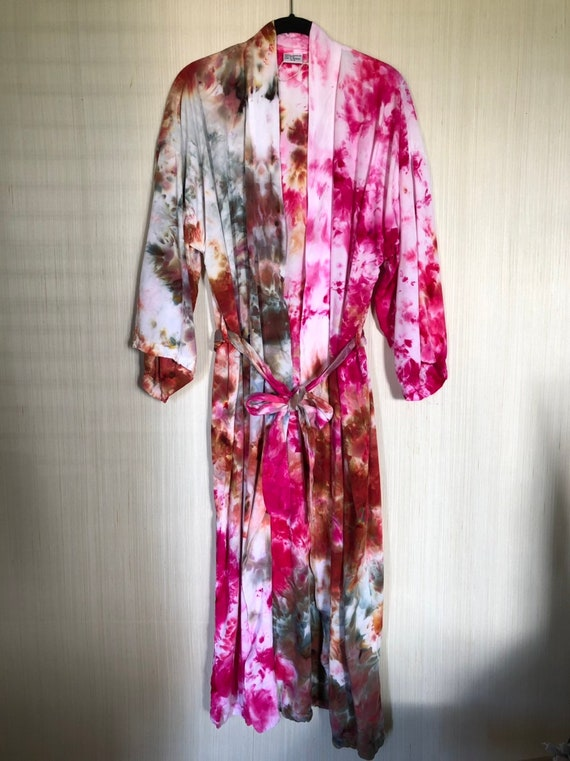 Dyed robe in pink /& terra-cotta ice dyed kimono  one of a kind gift  bathrobe