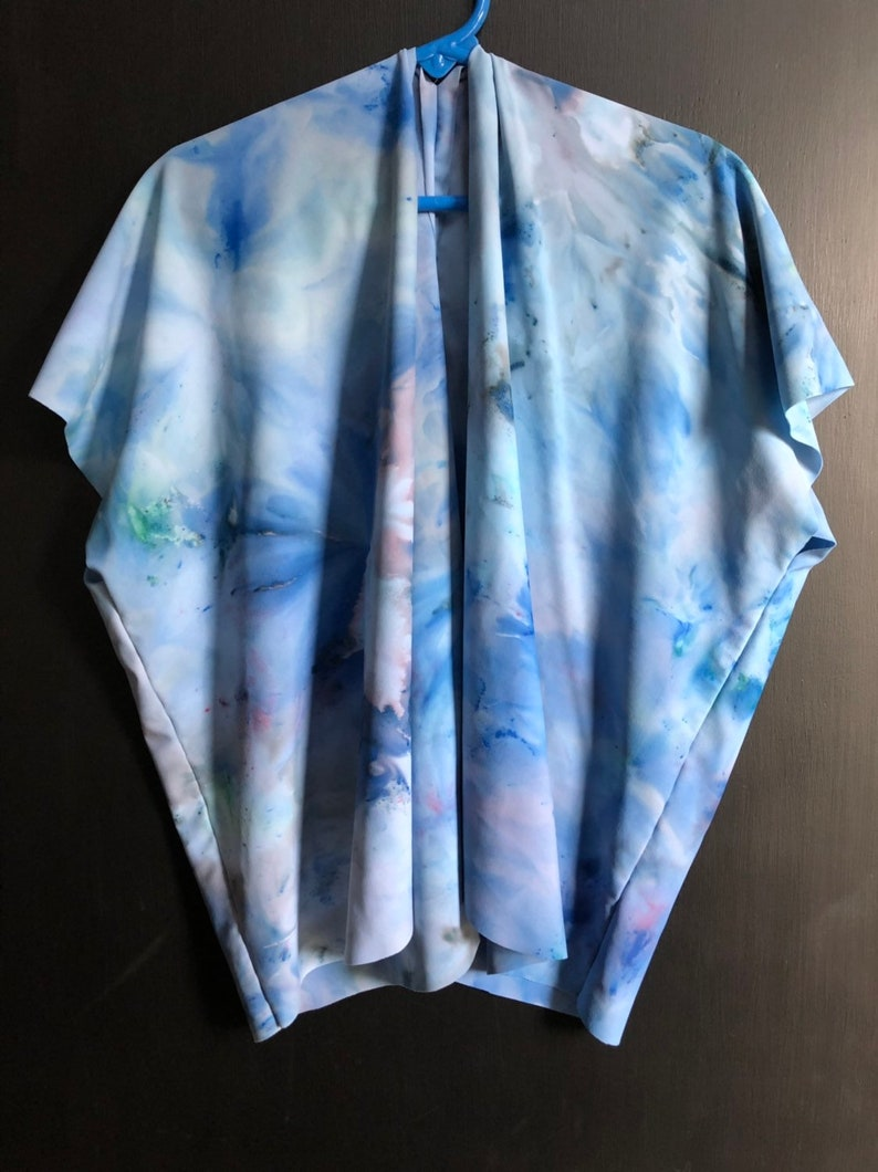 mini swim cover  kimono in ocean  one of a kind ice dyed  toddler size  rayon-spandex blend