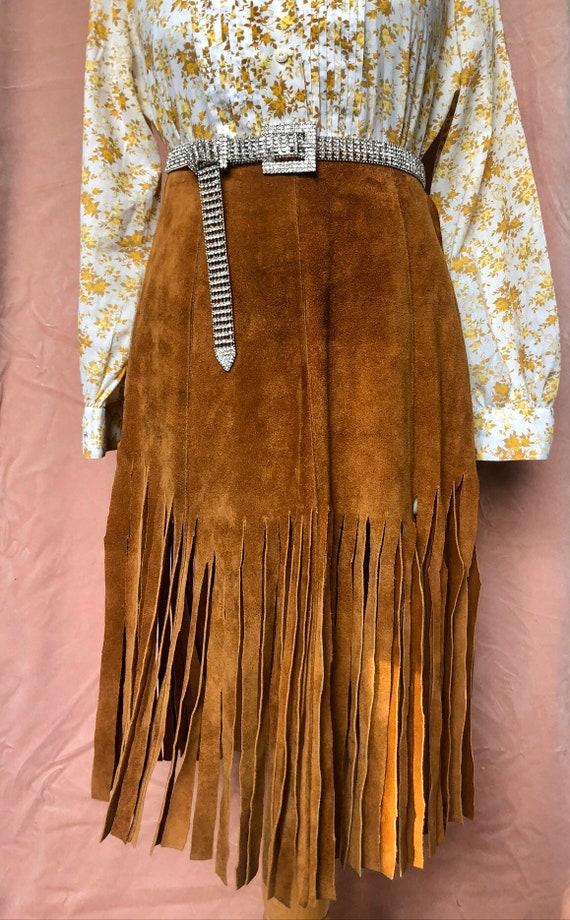 VTG 1960s tan suede tassel mini skirt