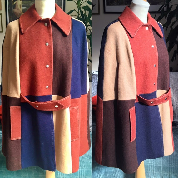 Vintage 1960s patchwork wool mod cape