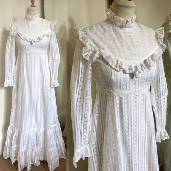 Vintage 1960s ruffled white prairie wedding dress