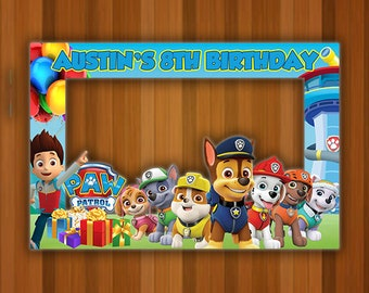 Paw Patrol Photo Booth Frame Birthday Prop Backdrop Digital
