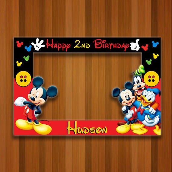 Mickey Mouse Photo Booth Frame Mickey Mouse Birthday Frame Etsy