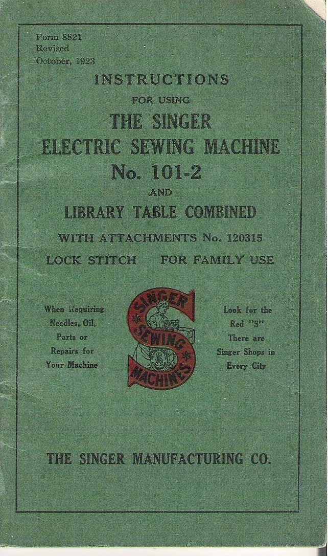Instructions For Using The Singer Electric Sewing Machine No Etsy
