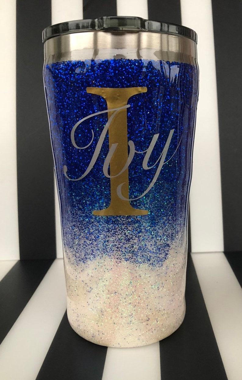 8f25b595c42 Blue / White ombré Glitter Tumbler /Stainless Steel | Etsy