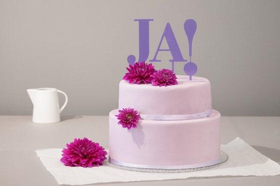 Cake Topper Hochzeitstorte Ja Violett Lila Etsy