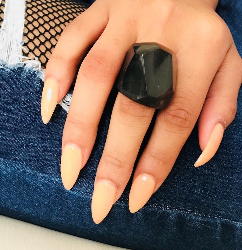 Handmade Organic Horn Ring Black Bull Horn Ring Eco-Friendly Jewelry CHA221