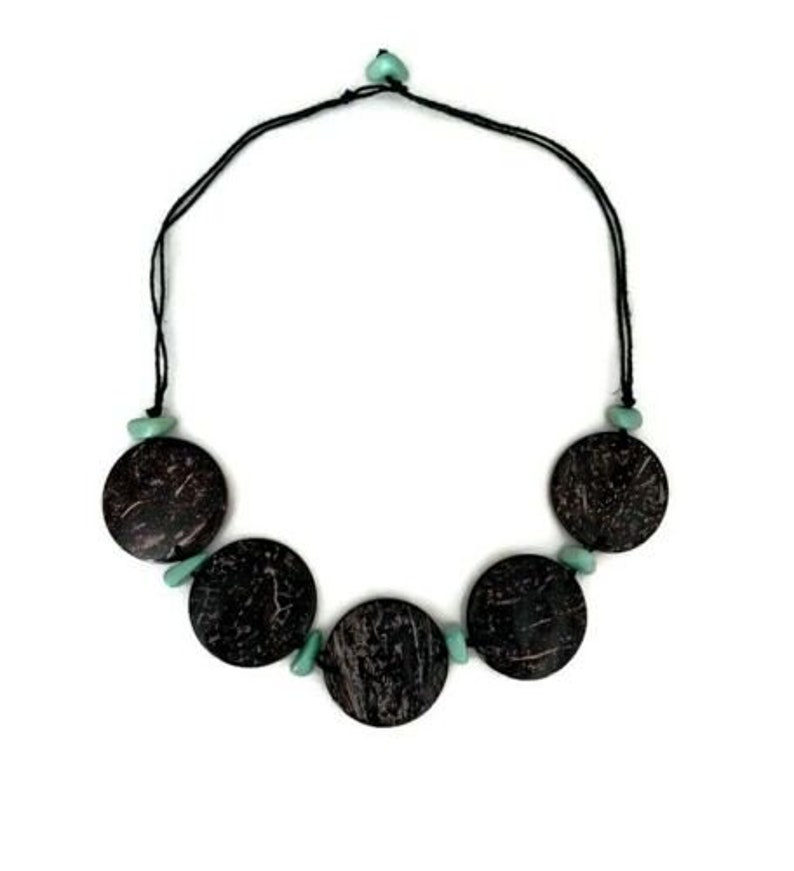 Handcrafted Organic Necklace in Mint Green TAG155 Tagua /& Coconut Necklace