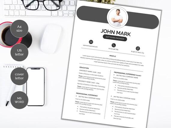 Modern Clean Resume Template / CV Template Cover Letter | Etsy