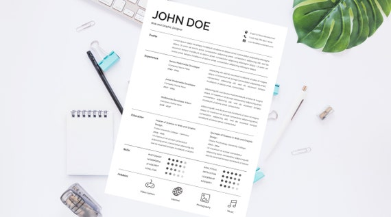 Resume/CV Modern Design Without Photo | Professional and creative | Cover  Letter | A4 & US Letter Size Format | Instant Download