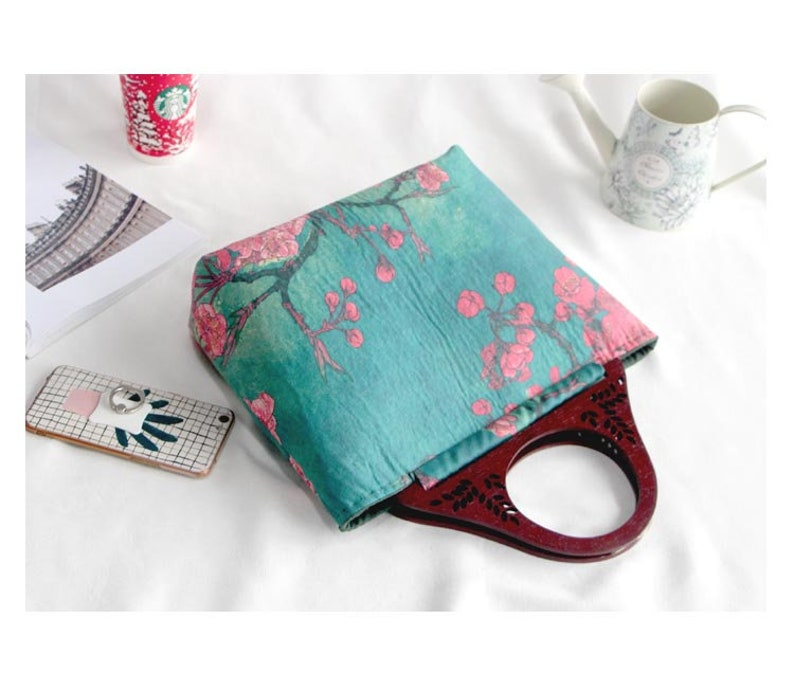 Green and Red Suede Tote Bag with Wintersweet Wood Handle- DIY Kit with Sewing Tutorials all the materials included
