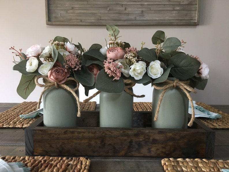 Eucalyptus and Peony Mason Jar Center Piece
