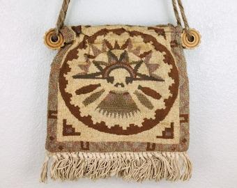 Vintage Egyptian Messenger Bag Purse Hieroglyphic Print Tote Mustard Yellow Cordoroy Carpet Bags of America Fabric Shoulder Canvas Printed