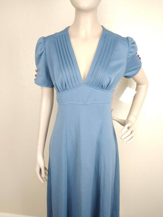 Vintage 40's Style Blue Full Length Dress