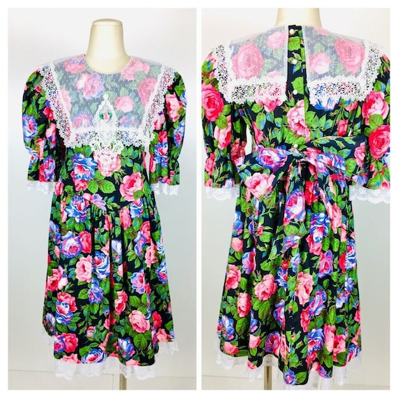 Vintage 80's Jinelle Girls Spotted Lace Colorful F