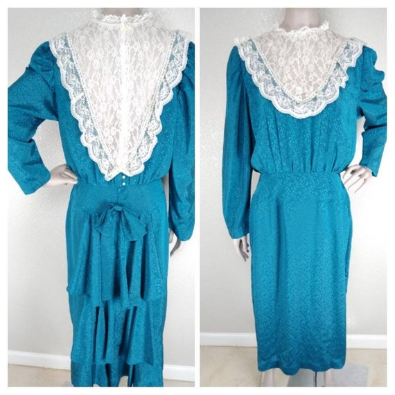 Vintage 60's Gunne Sax Style Teal Brocade Lace Fro