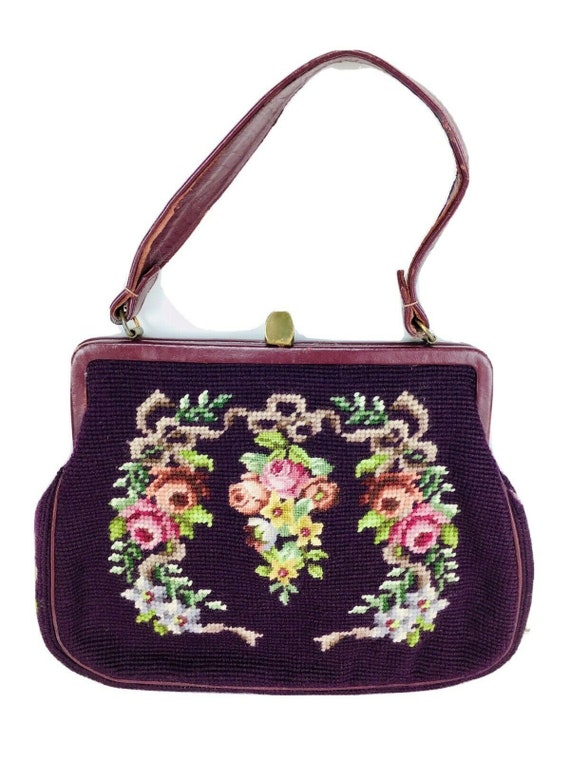 Vtg 50's Burgundy Floral Tapestry Carpet Bag Leath