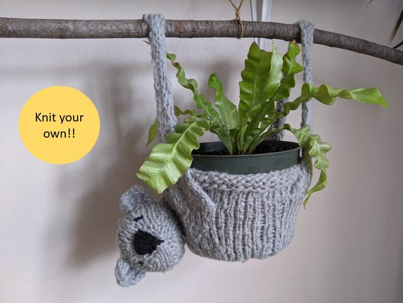 Koala plant hanger  knitting pattern  Karla the koala image 0