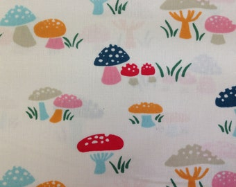 Organic cotton fabric, funny mushrooms, Everyday party, children's fabric in subtle colors, patchwork fabric, design: Birch Fabrics (110 cm wide)