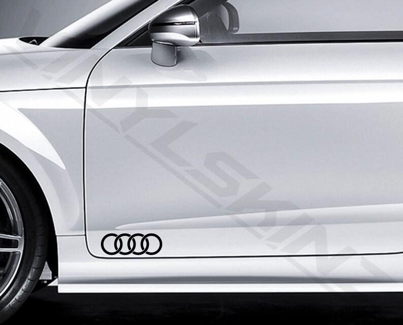 Audi Rings Logo Premium Cast Door Decals Stickers TT RS A3 A4 A5 A6 A8 Q3  Q5 TFSI S-line Quattro S1 S3 S4 S5 S6 S7 S8 RS3 RS4 RS5 RS6 RS7