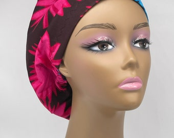 Niceroy surgical SCRUB HAT CAP Ankara Europe style nursing caps made with 100/% cotton fabric and satin lining option African Print NRSC43