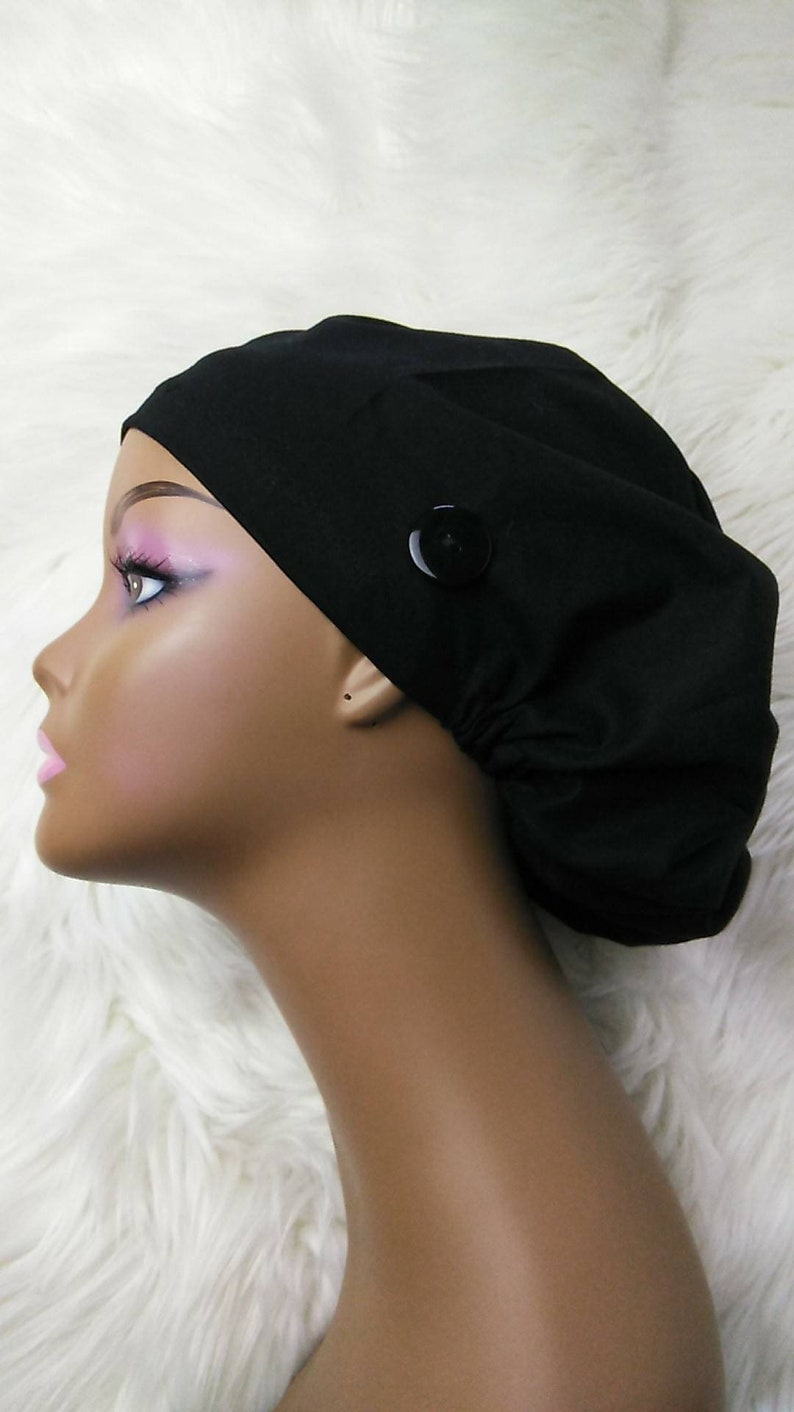 Niceroy BLACK EUROPE STYLE surgical scrub hat nursing caps cotton fabric hat with satin lining option and buttons for mask