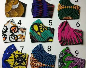 Niceroy ANKARA AFRICAN MASK - 3 layers cotton Print Face Cover - Dust Protector - Filter Pockets Mask - Gift For Friend - Multi Color Mask