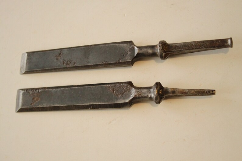 Vintage Set of Two Forged Mortise Chisels Woodworking Tool ...