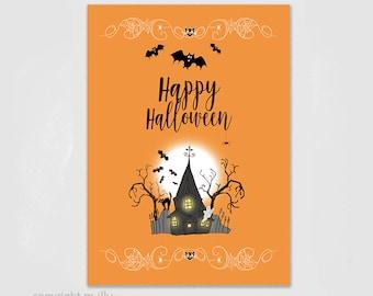 "Postcard, ""Happy Halloween"" Autumn, Card, Autumn, trick or treat, Bat, Creepy, Spooky, Autumn Card, Print on Natural Paper"
