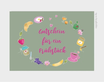 """Postcard """"Voucher for a breakfast"""" card, 350g high-quality natural paper"""