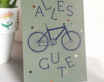 """Card """"All the best"""" bike, folding card with envelope/white, accents with gold foil in rose gold, congratulations, C6, 300g natural paper"""
