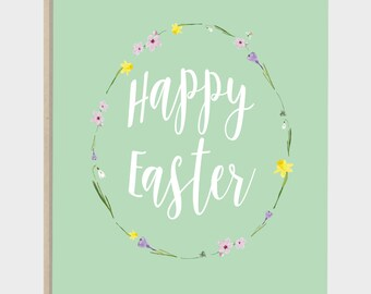 """Postcard Easter with envelope """"Happy Easter"""" blossom, card, green, C6 envelope eco-friendly kraft paper, 350g high quality natural paper"""