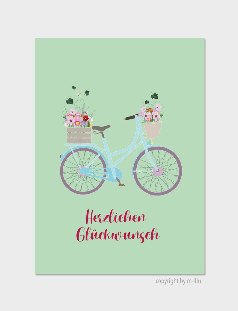 Postcard Congratulations Bicycle  flowers card image 0