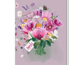 """Folding card with envelope """"Thank you"""", flowers, bouquet of flowers"""