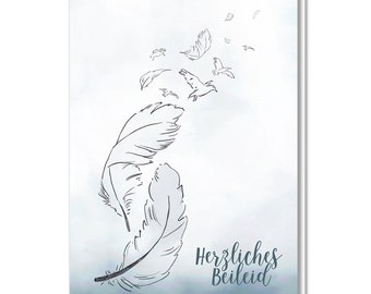 Folding card with envelope, mourning, birds, feather, condolences