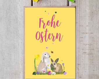 """Postcard Easter with envelope """"Merry Easter"""" blossom, card, bunny, C6 envelope eco-friendly kraft paper, 350g high quality natural paper"""
