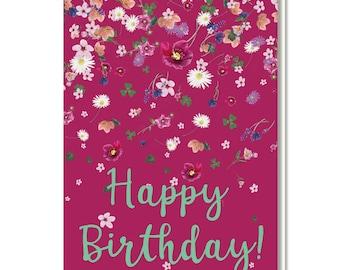 "Folding card with envelope ""Happy Birthday"", birthday, flowers, bordeaux"