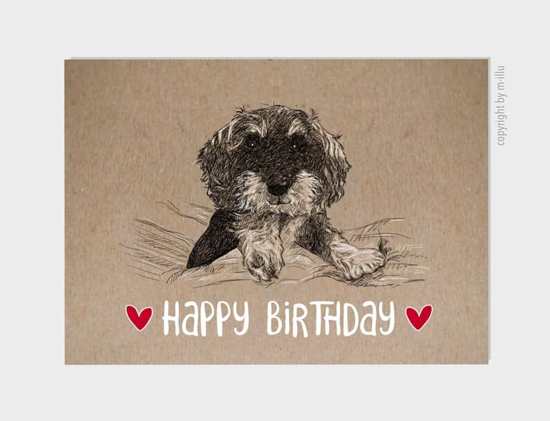 Postcard Happy Birthday-Rauhaardachckel Happy image 0