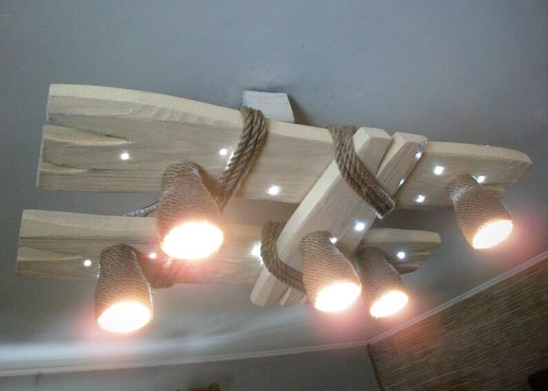 Plafoniere Con Legno : Lampadario in legno con faretti a led plafoniera luce etsy