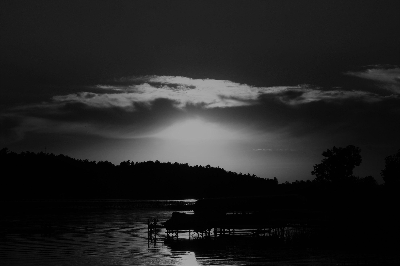 Lakeside black and white sunset