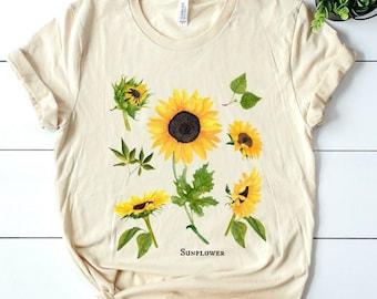 Sunflower T shirt, botanical t shirt, flower t shirt, plants t shirt, botanical plant t shirt, botanical flower t shirt, sunflowers shirt