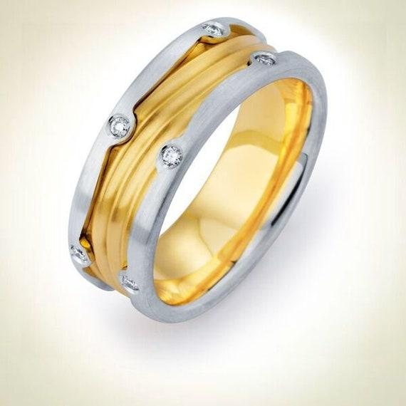 Yellow Gold Ring Mens Wedding Band 14kt Yellow Gold Diamond Etsy