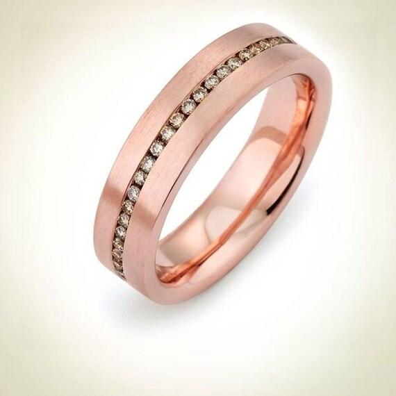 Rose Gold Ring Mens Wedding Band 14kt Rose Gold Diamond Band Etsy