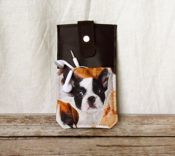 Mobile Phone Bag Boston Terrier French Bulldog Cremedark Brown With Headphone Pocket And Pull Up Function