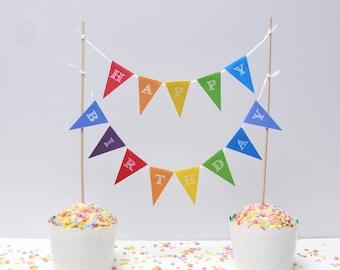 Cake garland HAPPY BIRTHDAY rainbow, personalized cake garland birthday birthday wedding