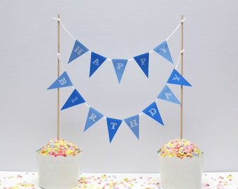 Cake garland HAPPY BIRTHDAY blue, personalized cake garland birthday birthday wedding